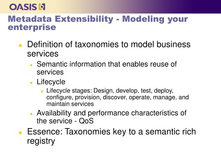 Metadata Extensibility - Modeling your enterprise