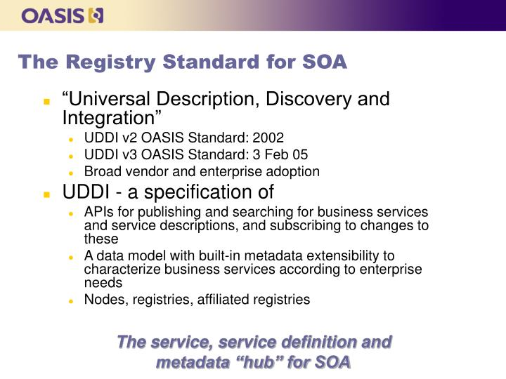 The Registry Standard for SOA