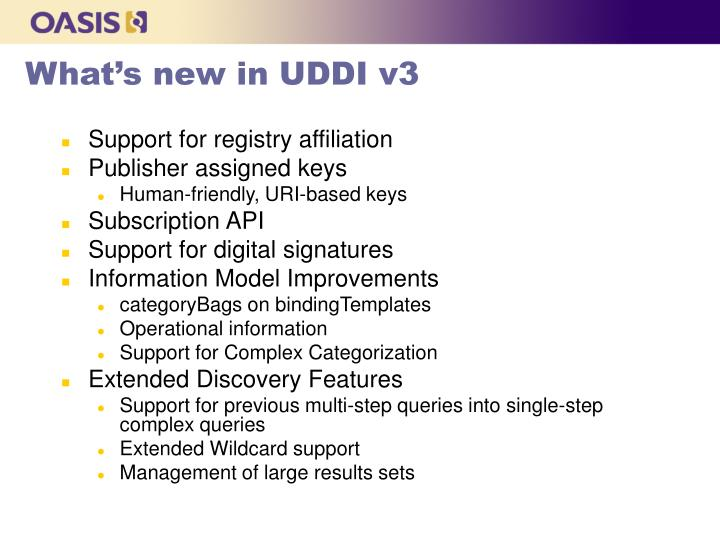 What's new in UDDI v3