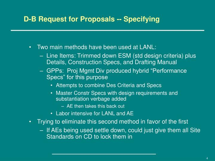 D-B Request for Proposals -- Specifying