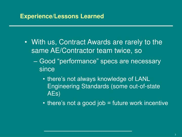 Experience/Lessons Learned