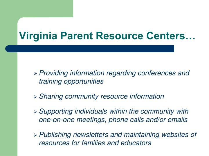 Virginia Parent Resource Centers…