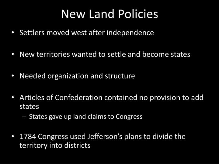 New Land Policies