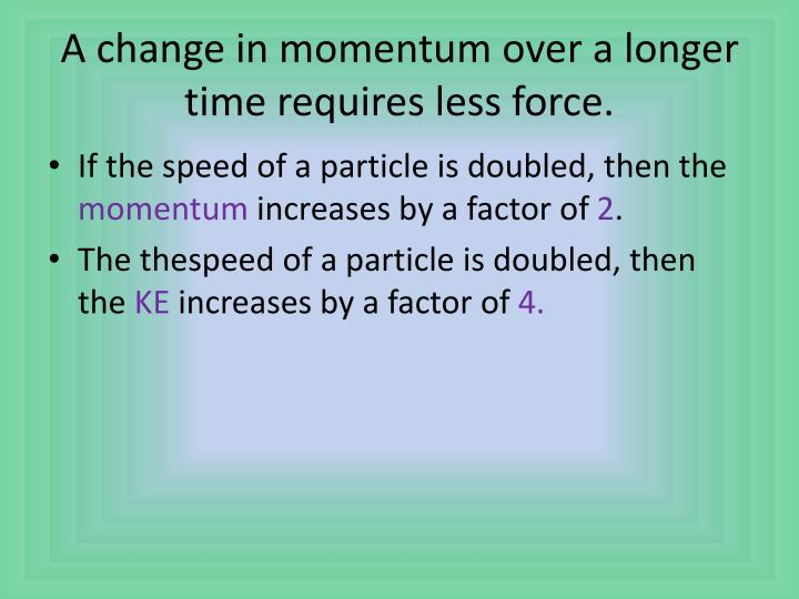 A change in momentum over a longer time requires less force.