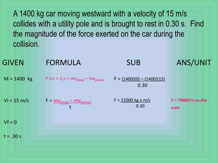 A 1400 kg car moving westward with a velocity of 15 m/s collides with a utility pole and is brought to rest in 0.30 s.  Find the magnitude of the force exerted on the car during the collision.