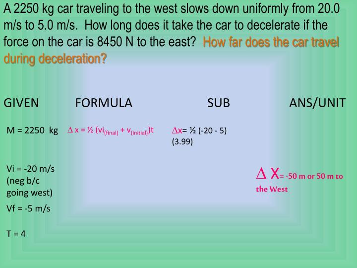 A 2250 kg car traveling to the west slows down uniformly from 20.0 m/s to 5.0 m/s.  How long does it take the car to decelerate if the force on the car is 8450 N to the east?