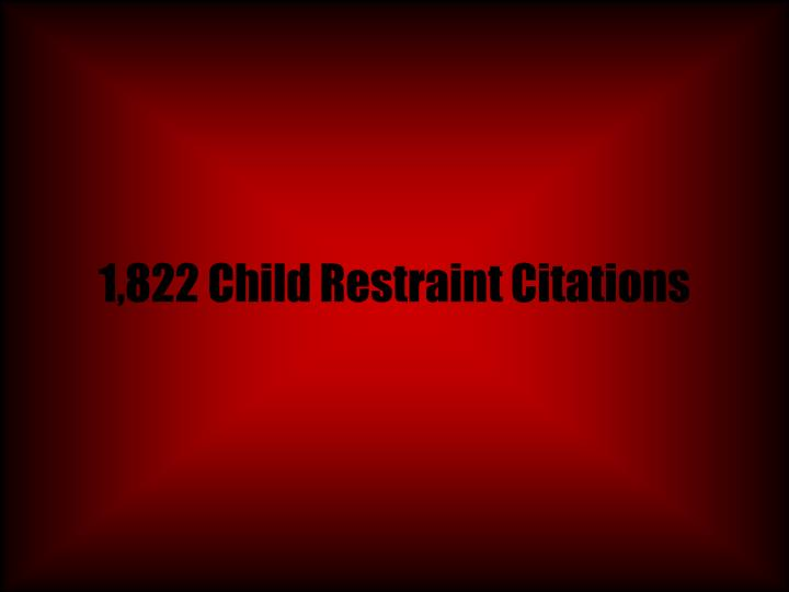 1,822 Child Restraint Citations