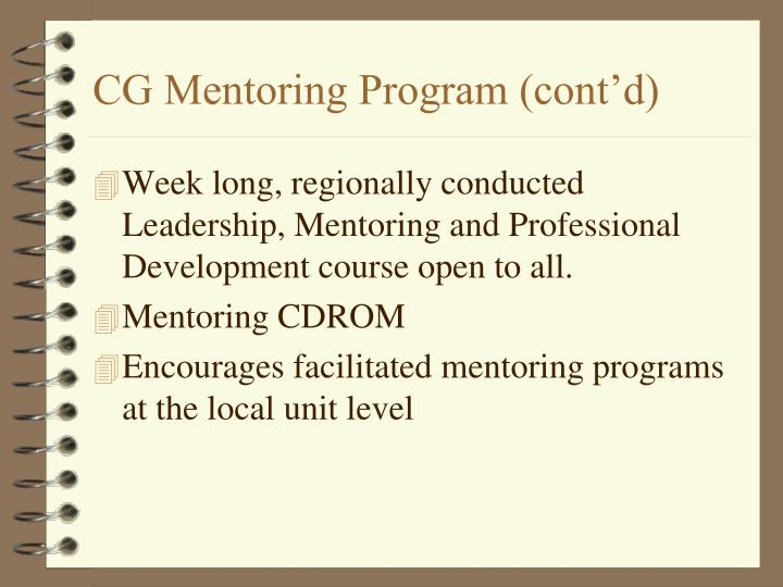 CG Mentoring Program (cont'd)