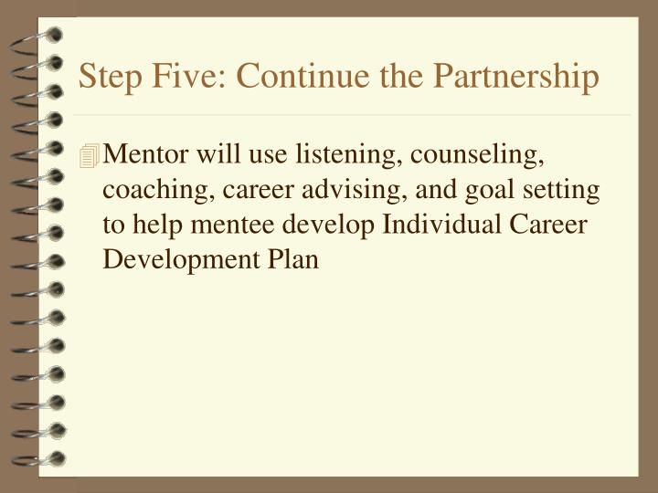 Step Five: Continue the Partnership