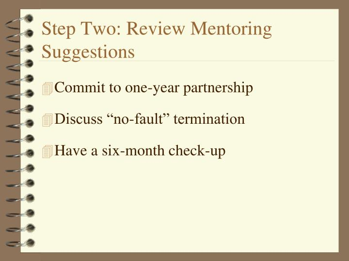 Step Two: Review Mentoring Suggestions