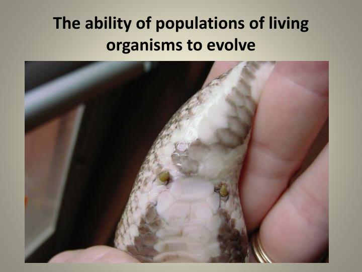 The ability of populations of living organisms to evolve