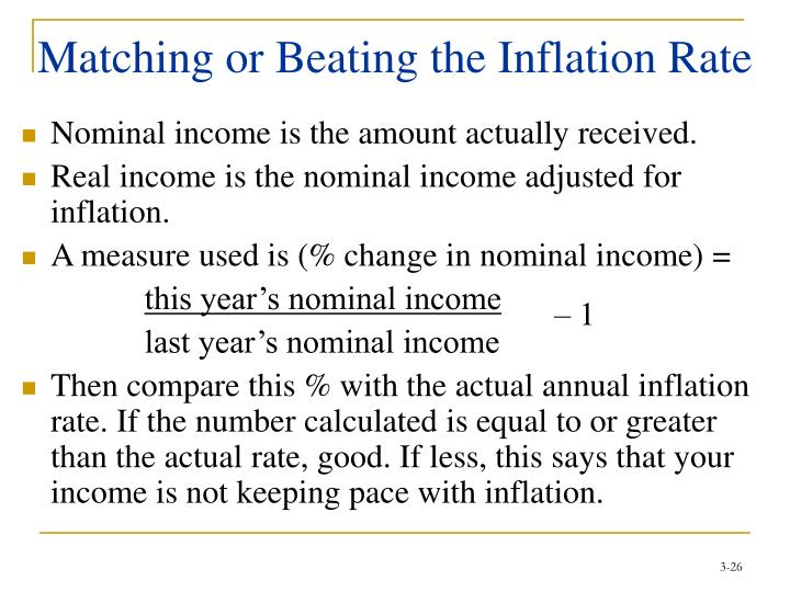 Matching or Beating the Inflation Rate