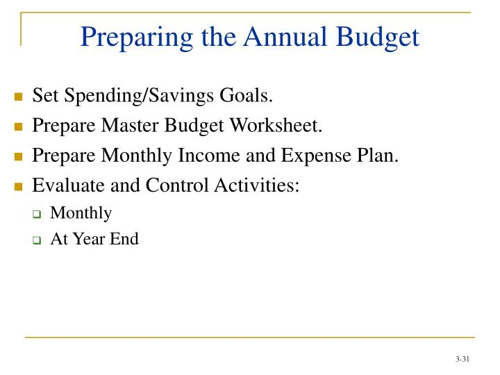 Preparing the Annual Budget