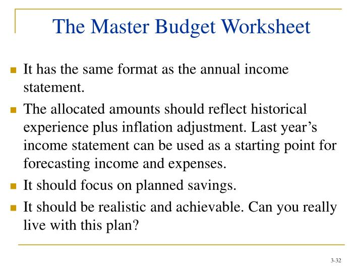The Master Budget Worksheet