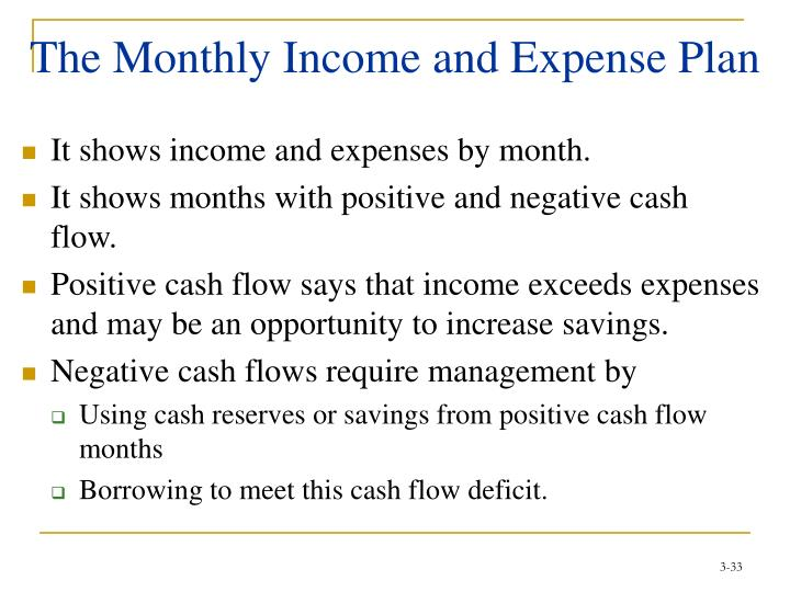The Monthly Income and Expense Plan