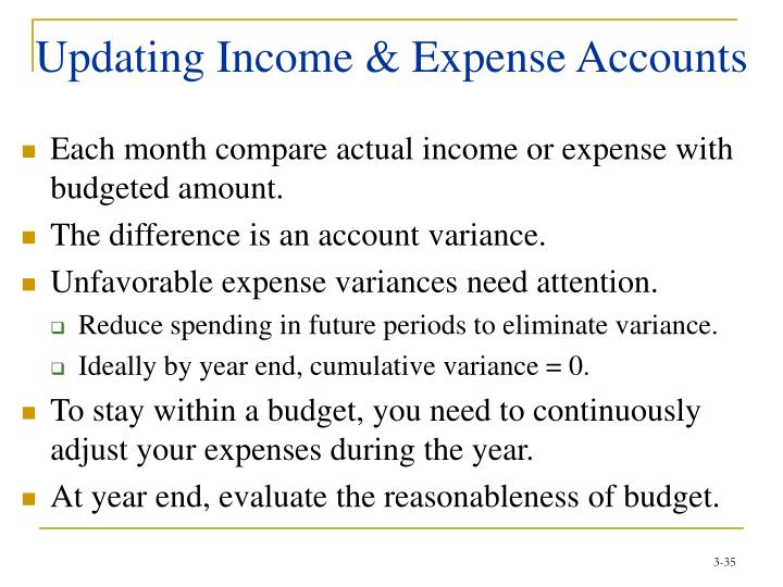 Updating Income & Expense Accounts