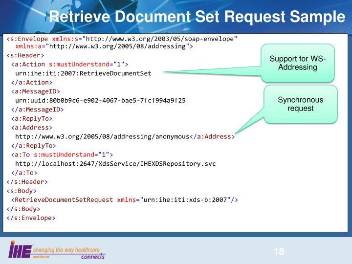 Retrieve Document Set Request Sample