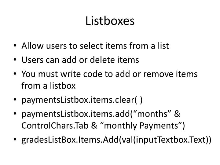 Listboxes