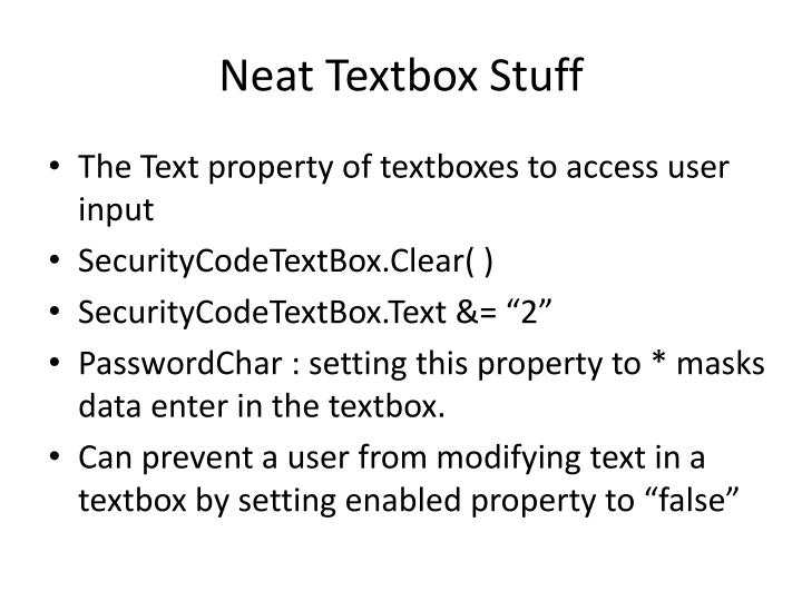 Neat Textbox Stuff