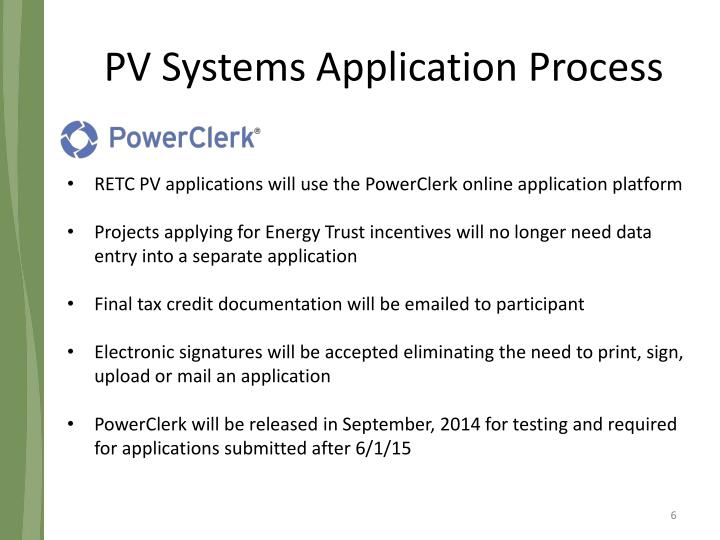 PV Systems Application Process
