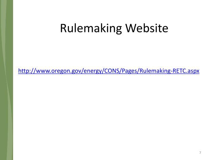 Rulemaking Website