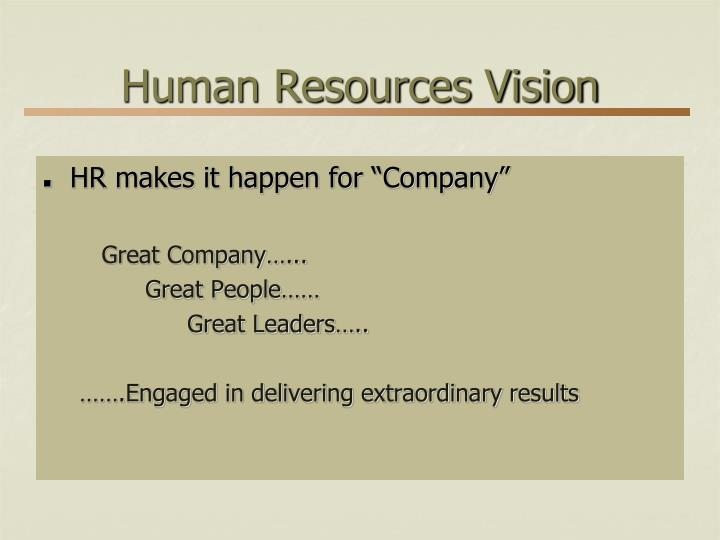Human Resources Vision