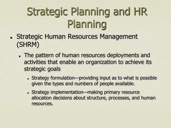 Strategic planning and hr planning