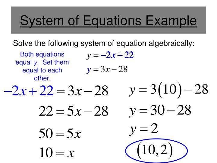 System of Equations Example