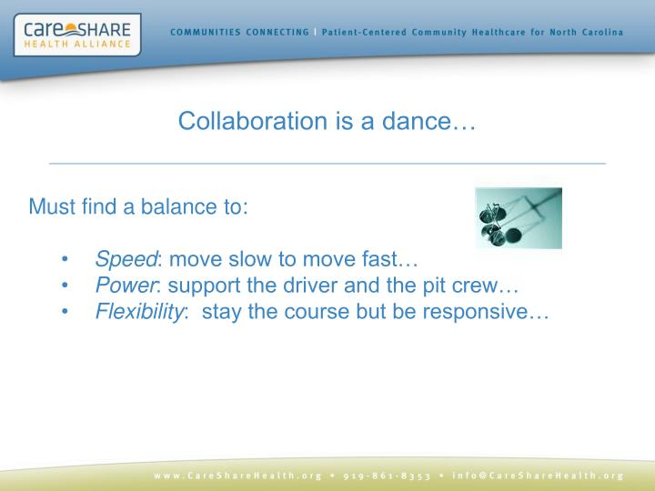 Collaboration is a dance…