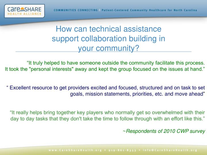 How can technical assistance