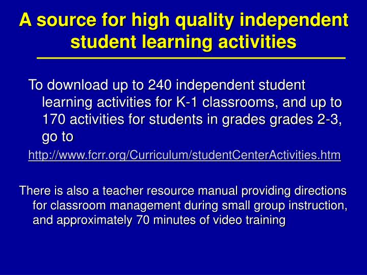 A source for high quality independent student learning activities