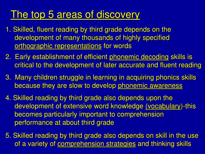 The top 5 areas of discovery
