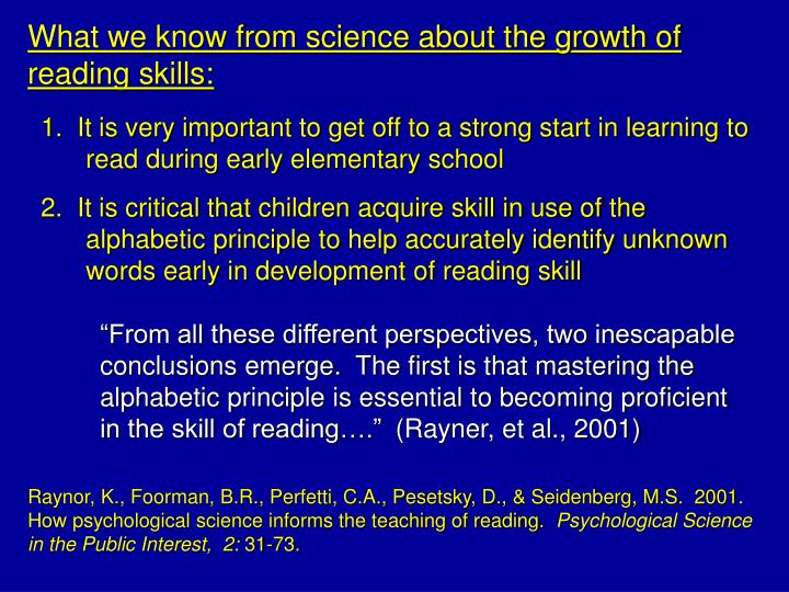 What we know from science about the growth of reading skills: