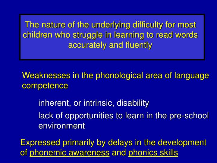 The nature of the underlying difficulty for most children who struggle in learning to read words accurately and fluently