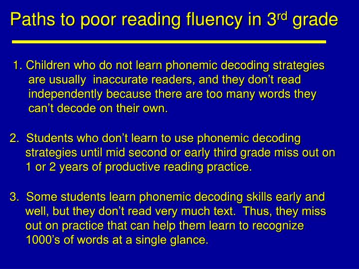 Paths to poor reading fluency in 3