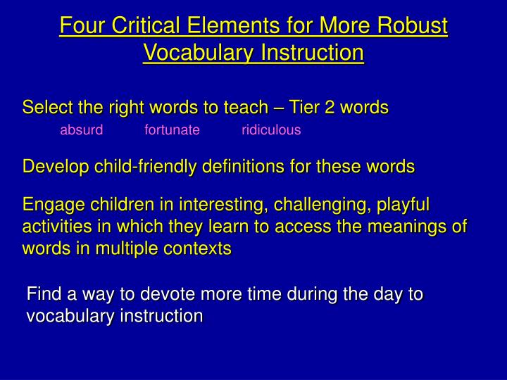 Four Critical Elements for More Robust Vocabulary Instruction
