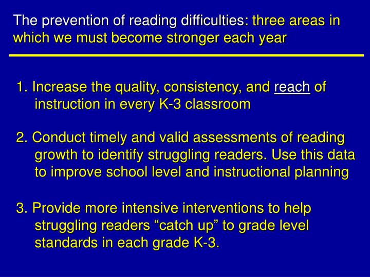 The prevention of reading difficulties