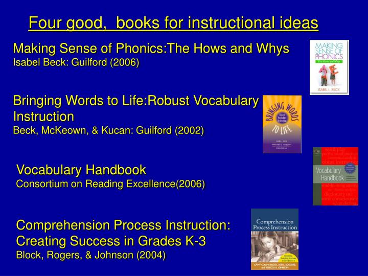 Four good,  books for instructional ideas