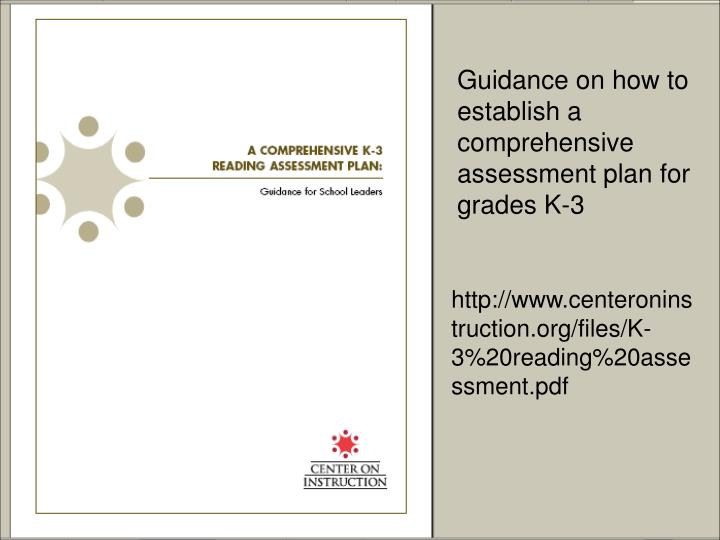 Guidance on how to establish a comprehensive assessment plan for grades K-3