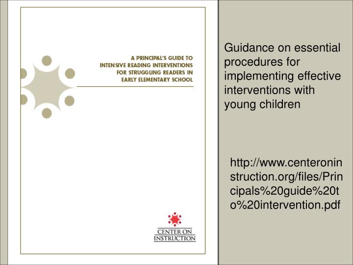 Guidance on essential procedures for implementing effective interventions with young children