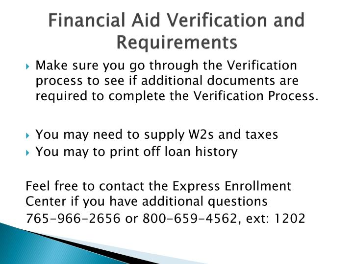 Financial Aid Verification and Requirements
