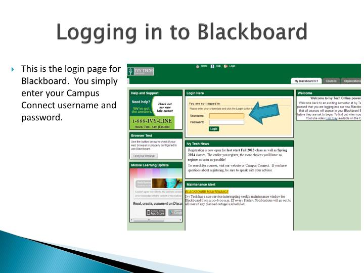 Logging in to Blackboard
