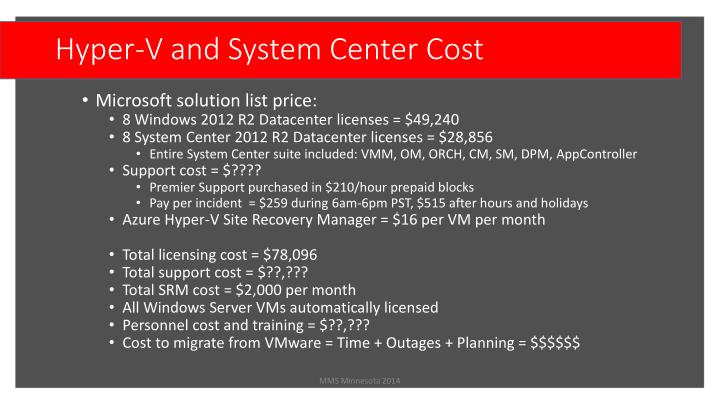 Hyper-V and System Center Cost