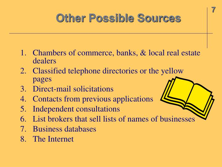 Other Possible Sources