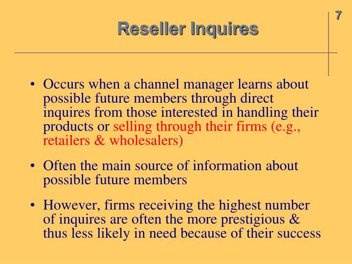 Reseller Inquires