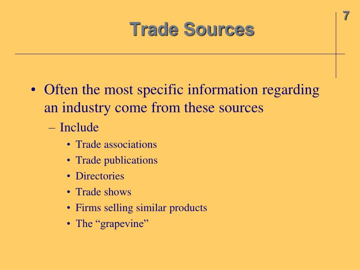 Trade Sources