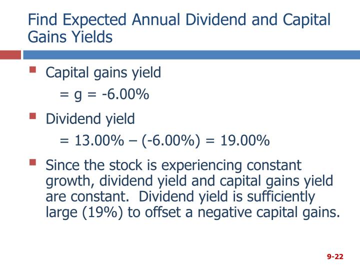 Find Expected Annual Dividend and Capital Gains Yields