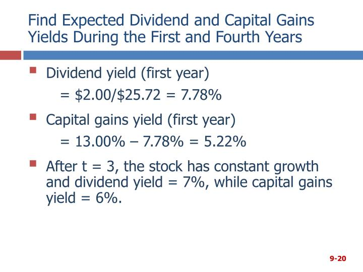 Find Expected Dividend and Capital Gains Yields During the First and Fourth Years