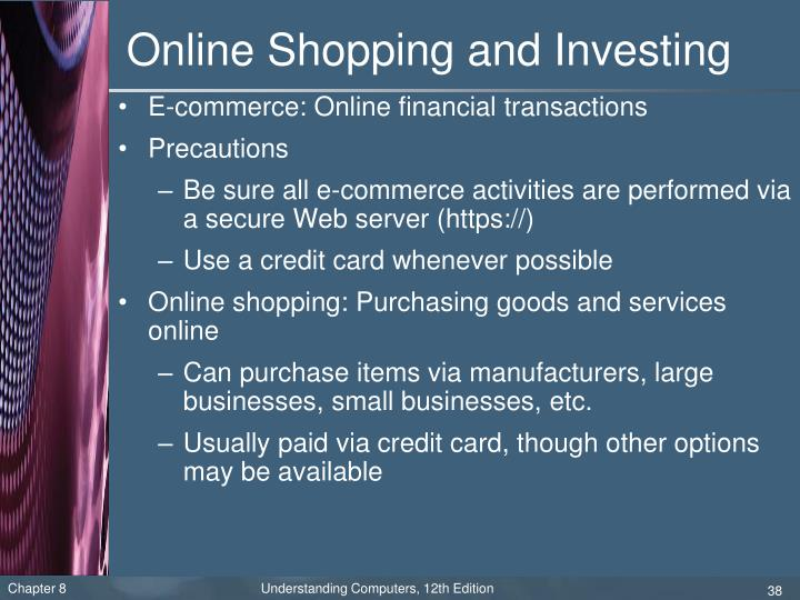Online Shopping and Investing