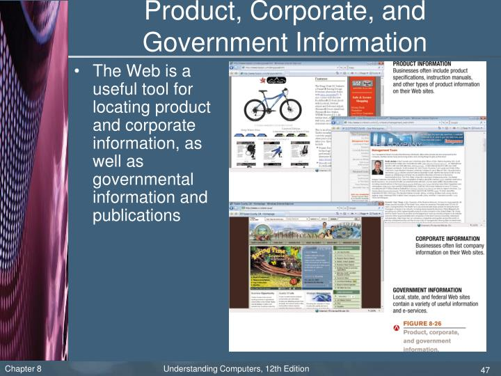 Product, Corporate, and Government Information